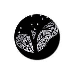 Black And White Tree Rubber Round Coaster (4 Pack)  by Valentinaart