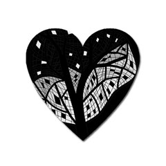 Black And White Tree Heart Magnet by Valentinaart