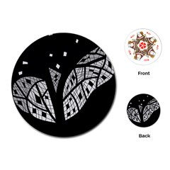 Black And White Tree Playing Cards (round)  by Valentinaart