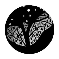 Black And White Tree Round Ornament (two Sides)  by Valentinaart