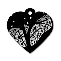Black And White Tree Dog Tag Heart (two Sides) by Valentinaart