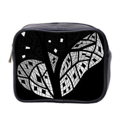 Black And White Tree Mini Toiletries Bag 2 Side by Valentinaart