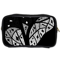 Black And White Tree Toiletries Bags 2 Side by Valentinaart