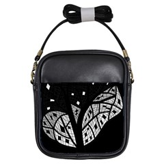 Black And White Tree Girls Sling Bags by Valentinaart