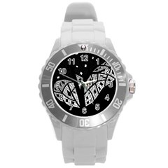 Black And White Tree Round Plastic Sport Watch (l) by Valentinaart