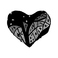 Black And White Tree Standard 16  Premium Heart Shape Cushions by Valentinaart
