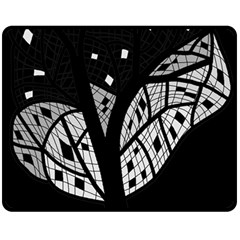 Black And White Tree Double Sided Fleece Blanket (medium)  by Valentinaart