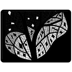 Black And White Tree Double Sided Fleece Blanket (large)  by Valentinaart