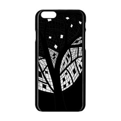 Black And White Tree Apple Iphone 6/6s Black Enamel Case by Valentinaart
