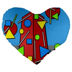 Crazy Building Large 19  Premium Heart Shape Cushions by Valentinaart