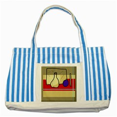 Decorative Art Striped Blue Tote Bag by Valentinaart