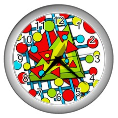 Crazy Geometric Art Wall Clocks (silver)  by Valentinaart
