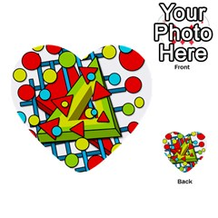 Crazy Geometric Art Multi Purpose Cards (heart)  by Valentinaart