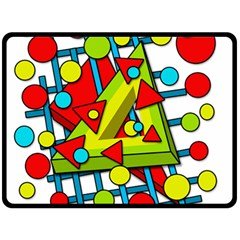 Crazy Geometric Art Double Sided Fleece Blanket (large)  by Valentinaart