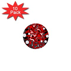 Red Mess 1  Mini Buttons (10 Pack)  by Valentinaart