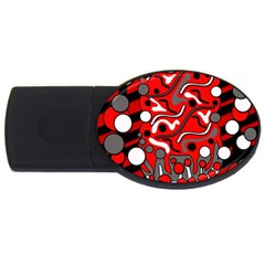 Red Mess Usb Flash Drive Oval (2 Gb)  by Valentinaart