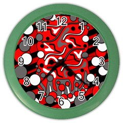 Red Mess Color Wall Clocks by Valentinaart