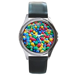 Funny Colorful Red Yellow Green Blue Kids Play Balls Round Metal Watch by yoursparklingshop