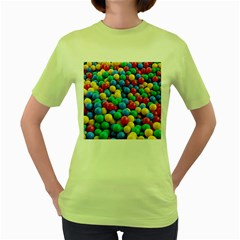 Funny Colorful Red Yellow Green Blue Kids Play Balls Women s Green T Shirt by yoursparklingshop