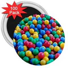 Funny Colorful Red Yellow Green Blue Kids Play Balls 3  Magnets (100 Pack) by yoursparklingshop