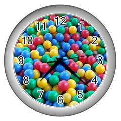 Funny Colorful Red Yellow Green Blue Kids Play Balls Wall Clocks (silver)  by yoursparklingshop
