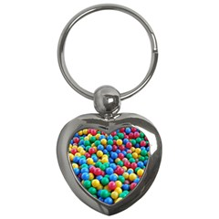 Funny Colorful Red Yellow Green Blue Kids Play Balls Key Chains (heart)  by yoursparklingshop