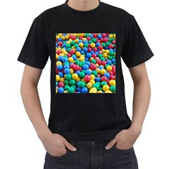 Funny Colorful Red Yellow Green Blue Kids Play Balls Men s T Shirt (black) (two Sided) by yoursparklingshop