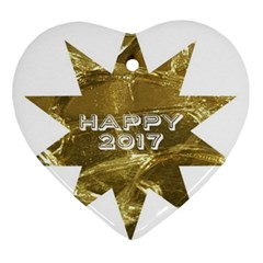 Happy New Year 2017 Gold White Star Ornament (heart)  by yoursparklingshop
