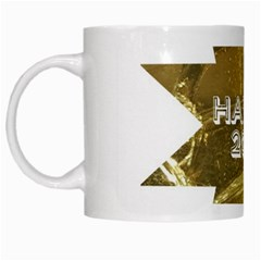 Happy New Year 2017 Gold White Star White Mugs by yoursparklingshop