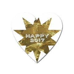 Happy New Year 2017 Gold White Star Heart Magnet by yoursparklingshop