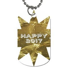 Happy New Year 2017 Gold White Star Dog Tag (two Sides) by yoursparklingshop