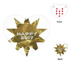 Happy New Year 2017 Gold White Star Playing Cards (heart)  by yoursparklingshop