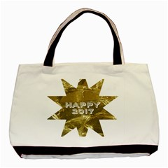 Happy New Year 2017 Gold White Star Basic Tote Bag by yoursparklingshop