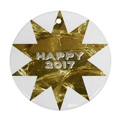 Happy New Year 2017 Gold White Star Round Ornament (two Sides)  by yoursparklingshop