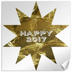 Happy New Year 2017 Gold White Star Canvas 20  X 20   by yoursparklingshop