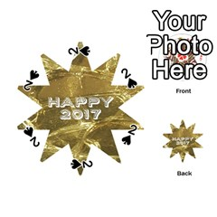 Happy New Year 2017 Gold White Star Playing Cards 54 (round)  by yoursparklingshop