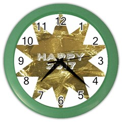 Happy New Year 2017 Gold White Star Color Wall Clocks by yoursparklingshop