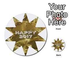 Happy New Year 2017 Gold White Star Multi Purpose Cards (round)  by yoursparklingshop