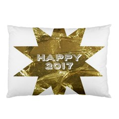 Happy New Year 2017 Gold White Star Pillow Case by yoursparklingshop
