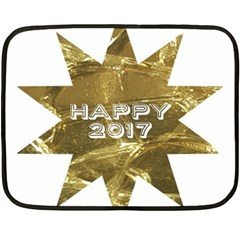 Happy New Year 2017 Gold White Star Double Sided Fleece Blanket (mini)  by yoursparklingshop