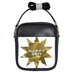 Happy New Year 2017 Gold White Star Girls Sling Bags by yoursparklingshop
