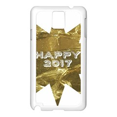 Happy New Year 2017 Gold White Star Samsung Galaxy Note 3 N9005 Case (white) by yoursparklingshop
