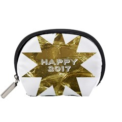 Happy New Year 2017 Gold White Star Accessory Pouches (small)  by yoursparklingshop