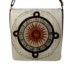 Ancient Aztec Sun Calendar 1790 Vintage Drawing Flap Messenger Bag (l)  by yoursparklingshop
