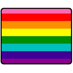 Colorful Stripes Lgbt Rainbow Flag Double Sided Fleece Blanket (medium)  by yoursparklingshop