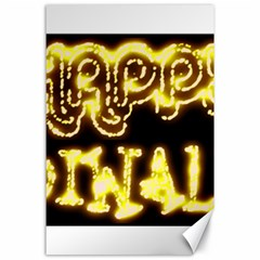 Happy Diwali Yellow Black Typography Canvas 24  X 36  by yoursparklingshop
