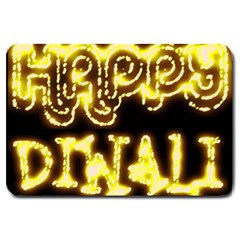 Happy Diwali Yellow Black Typography Large Doormat  by yoursparklingshop