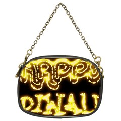 Happy Diwali Yellow Black Typography Chain Purses (two Sides)