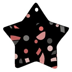 Pink And Gray Abstraction Star Ornament (two Sides)  by Valentinaart