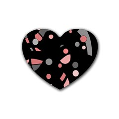 Pink And Gray Abstraction Heart Coaster (4 Pack)  by Valentinaart